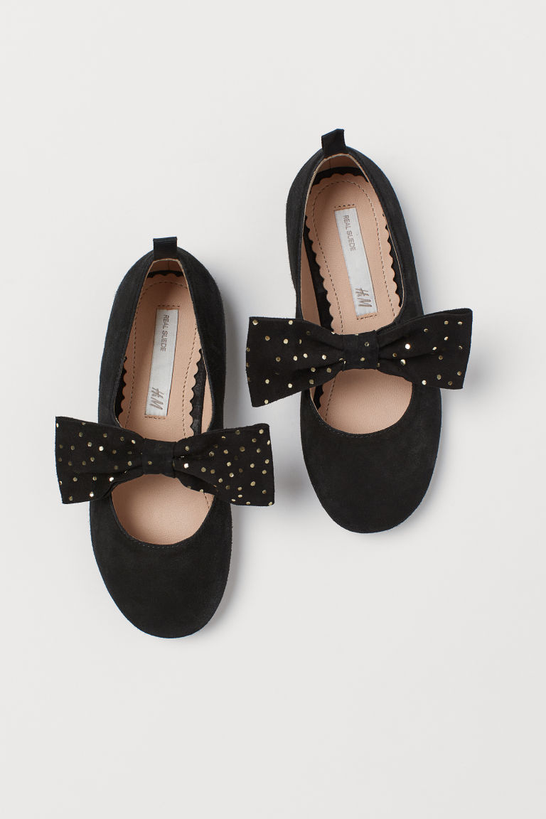Suede Ballet Flats - Black/gold-colored dots - Kids | H&M CA