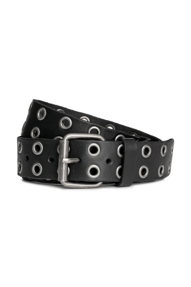 Leather belt with eyelets - Black - Men | H&M