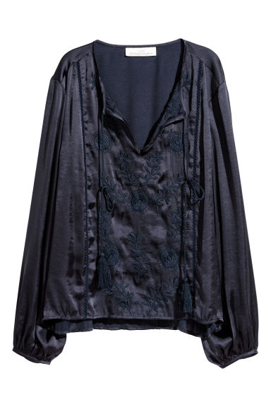 Embroidered blouse - Dark blue -  | H&M