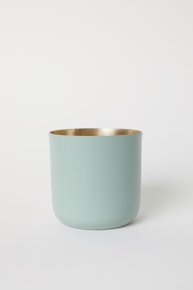 Tall metal plant pot - Dusky green -  | H&M CN