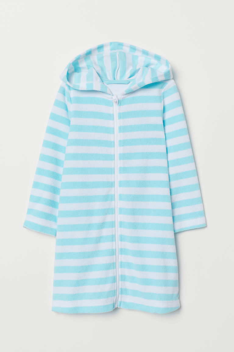 Hooded dressing gown - Light turquoise/White striped - Kids | H&M CN
