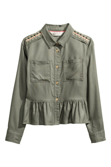 Blouse with embroidery - Khaki green -  | H&M CN