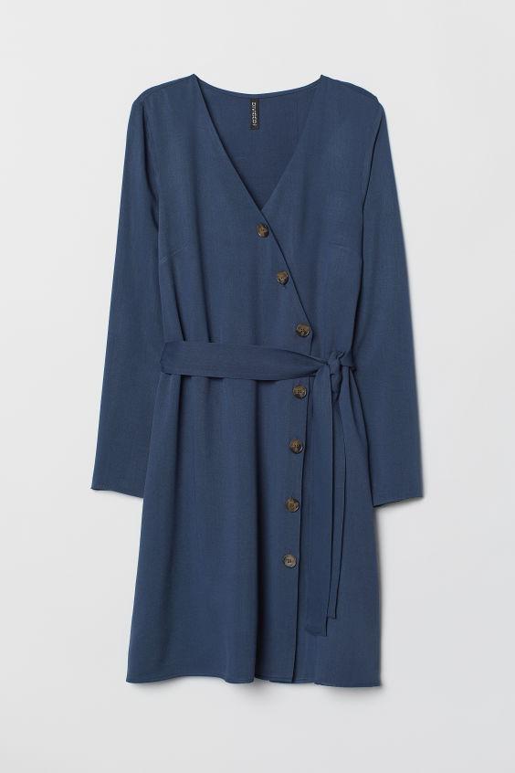 Sukienka z dekoltem w serek - Ciemnoniebieski - ONA   H&M PL 1