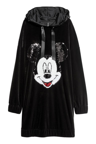 Velour dress with a hood - Black/Mickey Mouse - Ladies | H&M