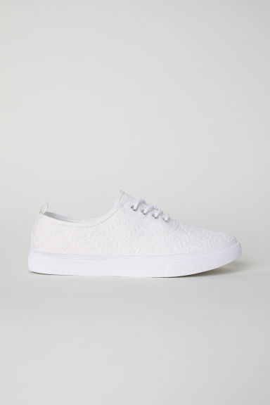 Trainers - White/Broderie anglaise - Ladies | H&M CN