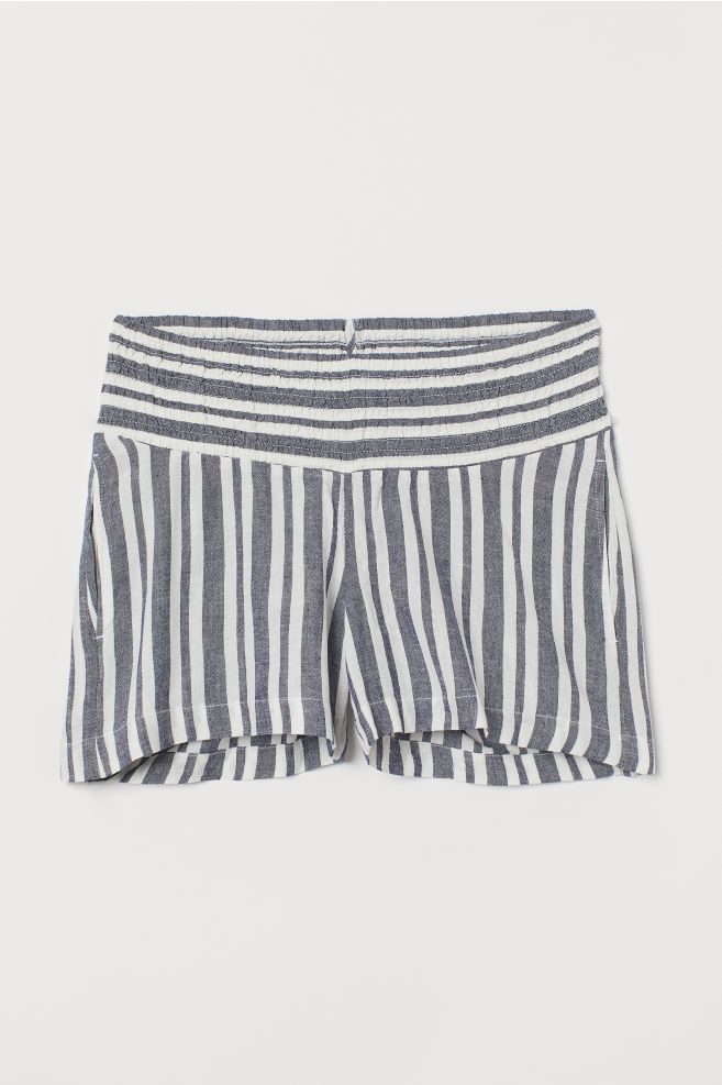 6f43f81091f30 ... MAMA Shorts with Smocking - Dark blue/white striped - Ladies | H&M ...