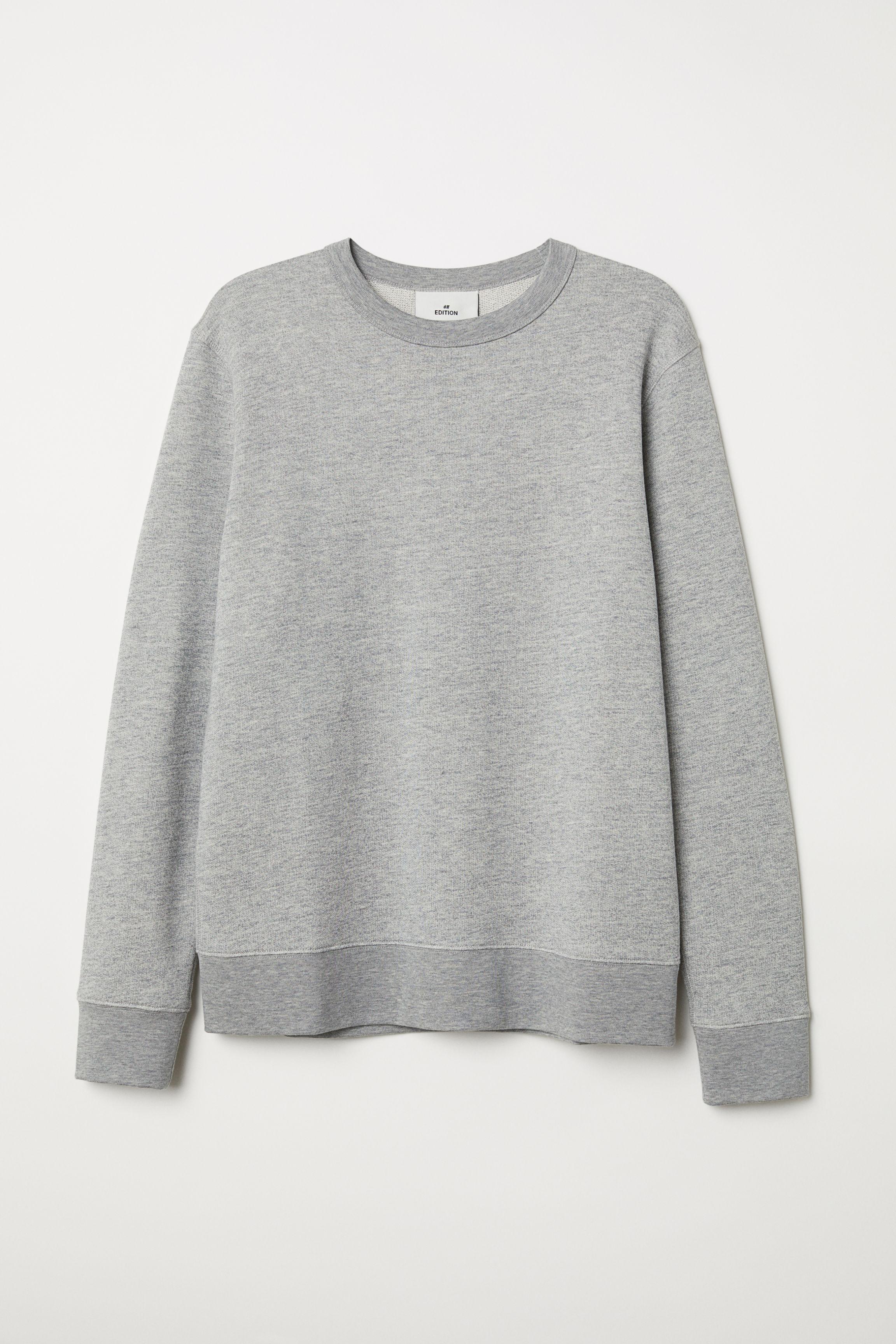 59c974107 Silk-blend Sweatshirt - Gray melange -   H&M US