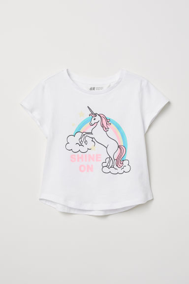 Glitter-print T-shirt - White/Unicorn - Kids | H&M