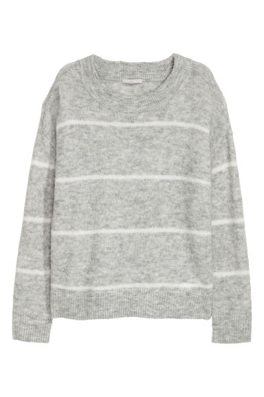Wool-blend Sweater - Light grey/White striped -  | H&M US