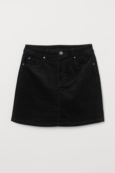 Short Corduroy Skirt - Black -  | H&M US