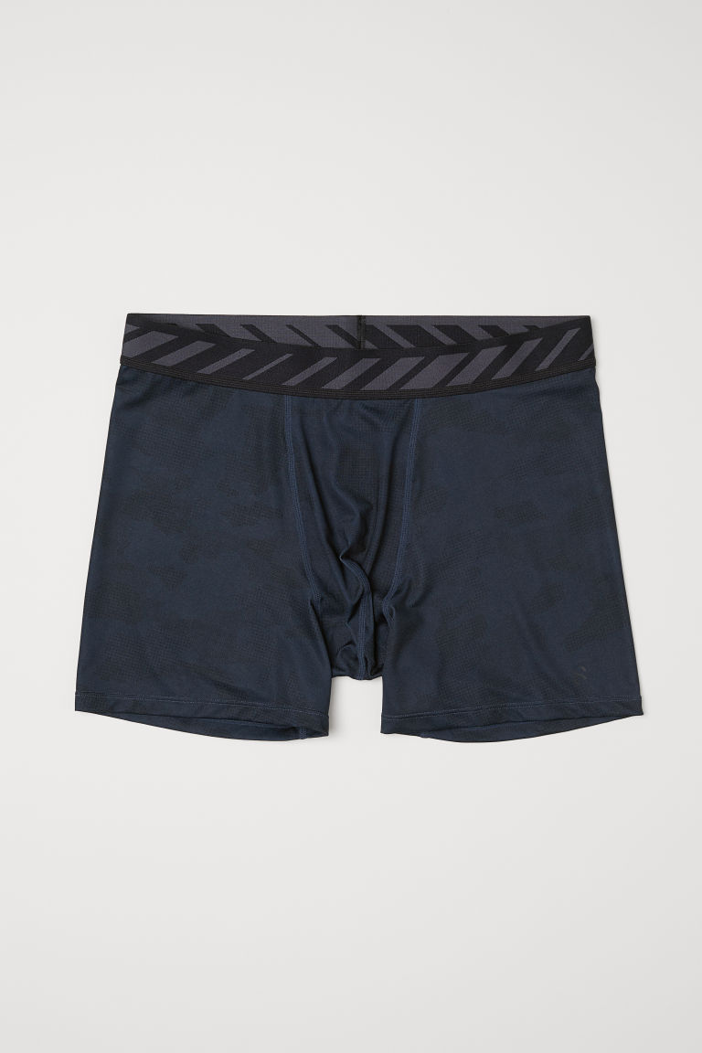 Sports boxer shorts - Steel blue/Black patterned - Men | H&M CN