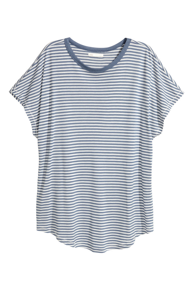 Top with cap sleeves - Blue/White striped - Ladies | H&M