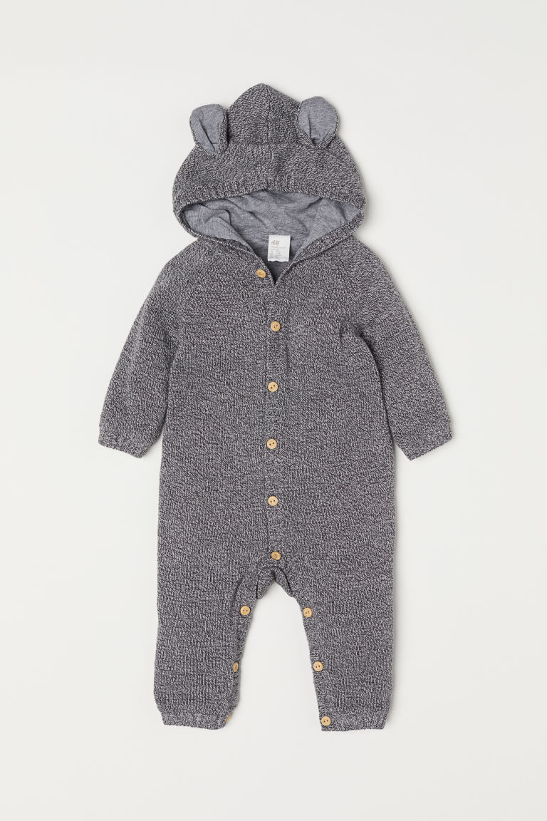 Fine-knit all-in-one suit - Grey marl - Kids | H&M