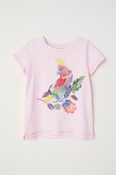 Jersey top with a motif - Light pink/Parrot - Kids | H&M