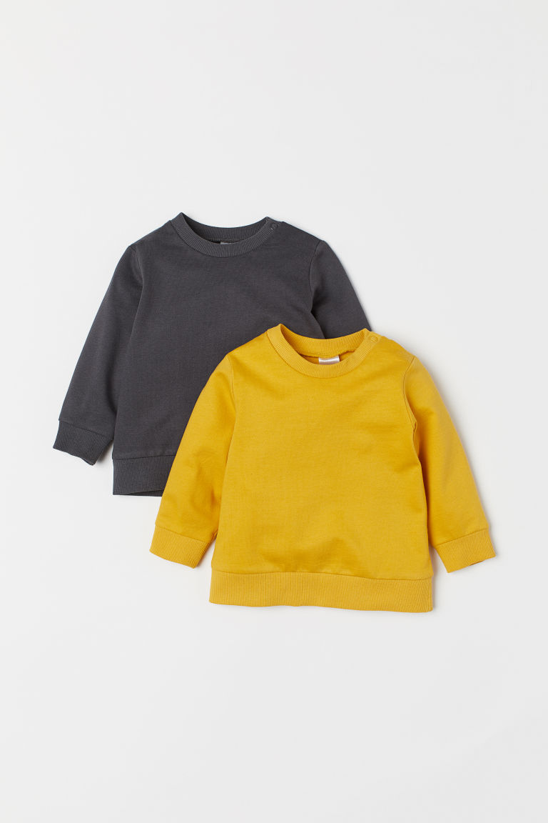 2-pack Cotton Sweatshirts - Mustard yellow/dark gray - Kids | H&M CA