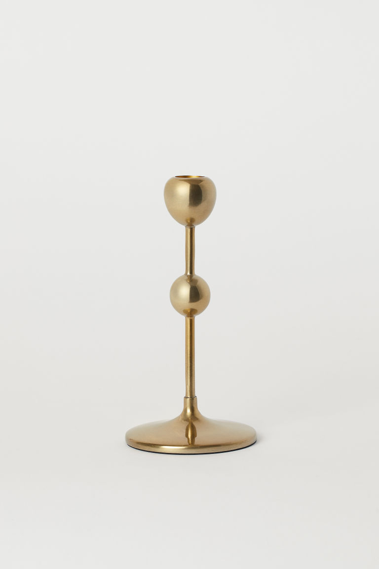 Short metal candlestick - Gold-coloured - Home All | H&M GB