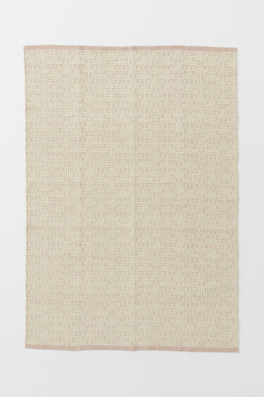 Jacquard-weave wool-blend rug - Light pink/Natural white - Home All | H&M CN