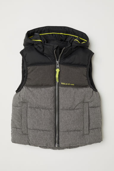 Padded gilet - Dark grey marl/Black - Kids | H&M