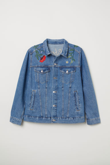 H&M+ Embroidered denim jacket - Denim blue/Flowers - Ladies | H&M CN