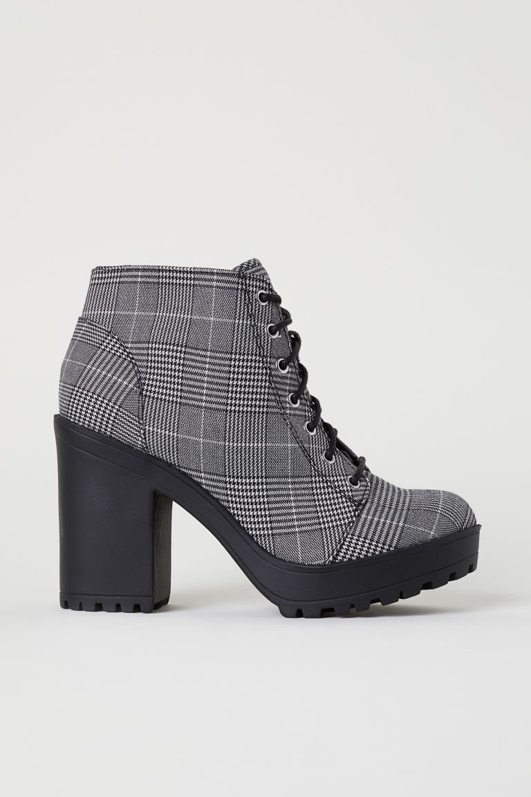 Platform ankle boots - Black/Dogtooth-patterned -  | H&M CN