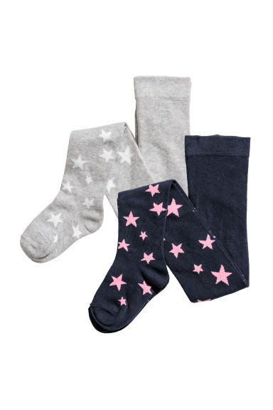 2-pack tights - Dark blue/Stars - Kids | H&M