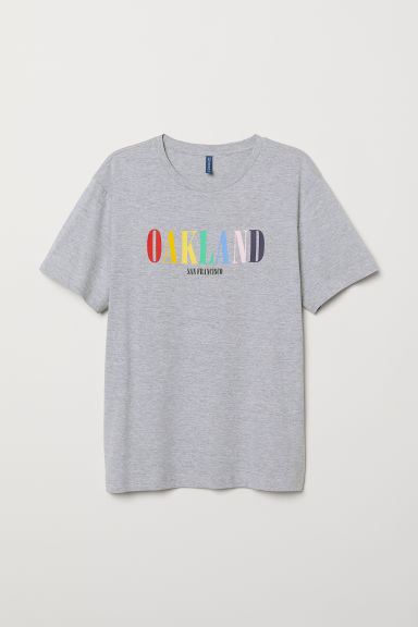 Printed T-shirt - Grey marl/Oakland - Men | H&M CN