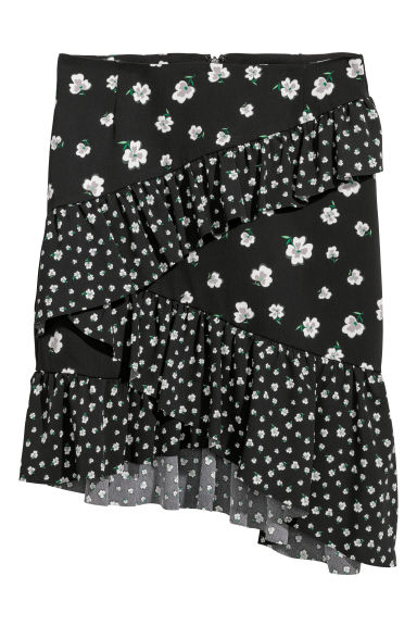 Short flounced skirt - Black/Patterned - Ladies | H&M