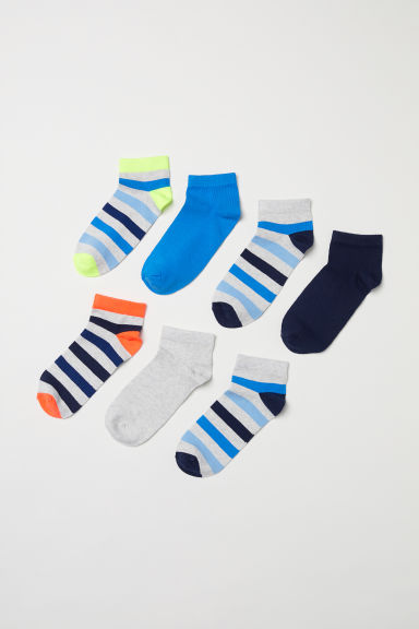 7-pack trainer socks - Dark blue/Striped - Kids | H&M