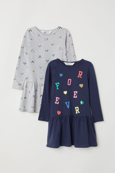 2-pack jersey dresses - Dark blue/Patterned - Kids | H&M