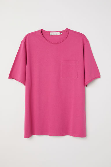 T-shirt with a chest pocket - Pink -  | H&M