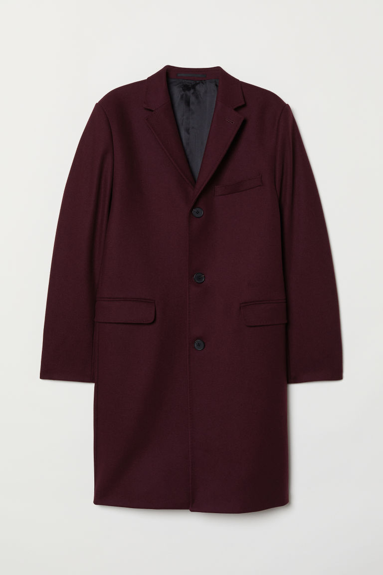 Cashmere-blend coat - Dark plum - Men | H&M