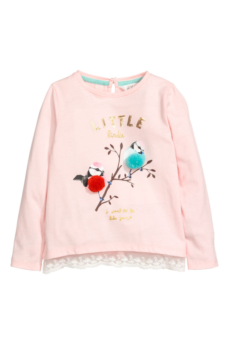 Lace-trimmed jersey top - Pink/Birds - Kids | H&M CN