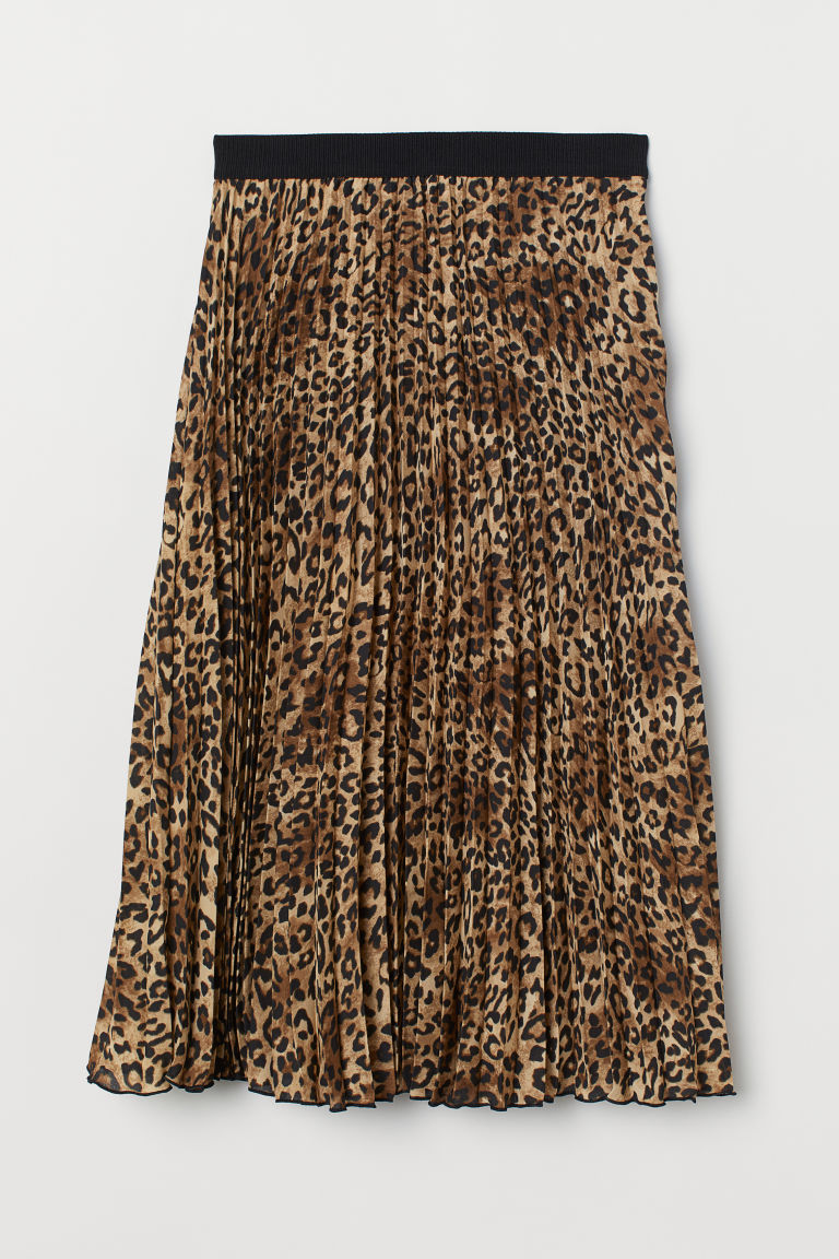 Pleated skirt - Beige/Leopard print - Ladies | H&M IE