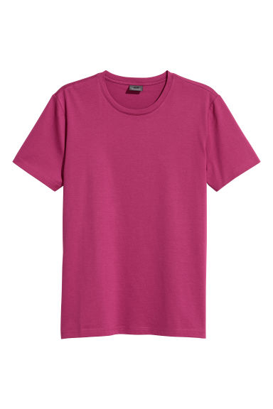 Premium cotton T-shirt - Dark pink - Men | H&M