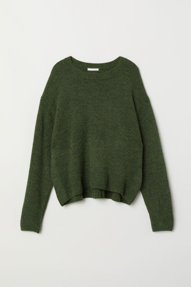 Knit Sweater - Dark green melange - Ladies | H&M US