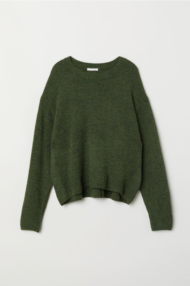 c6417a086de Pletený svetr - Tmavě zelený melír - ŽENY