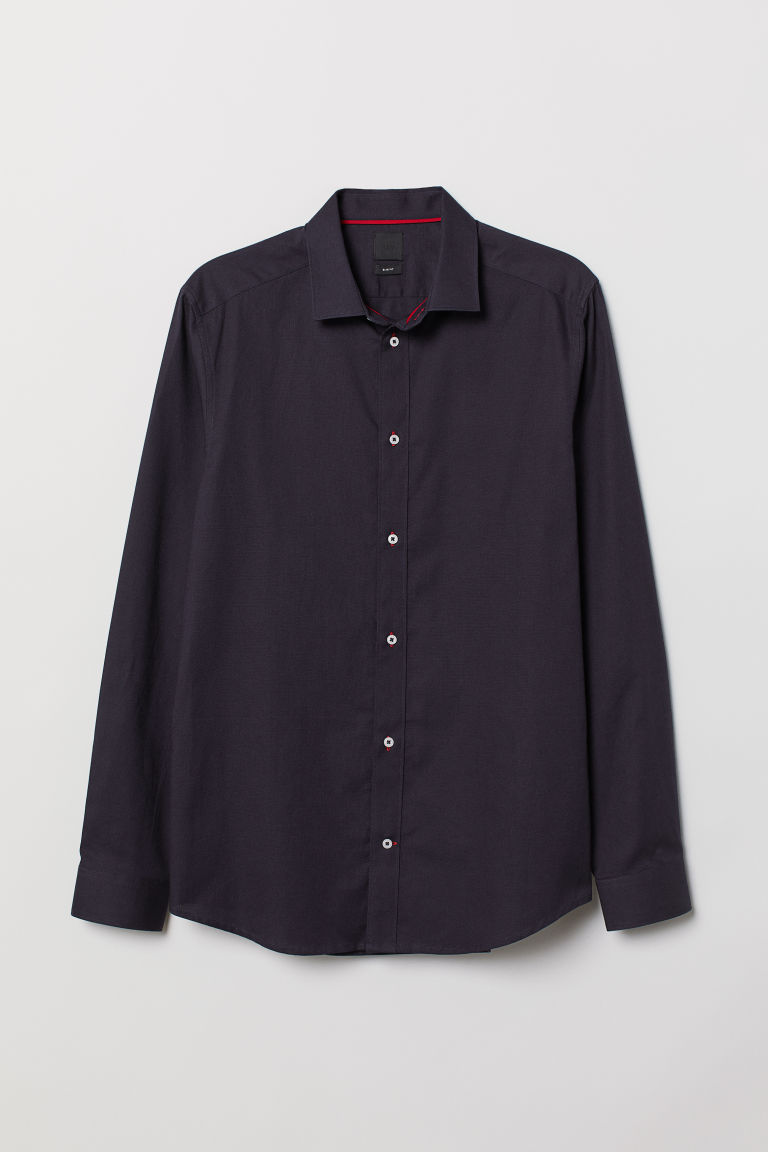 Camicia in cotone Slim fit - Blu scuro -  | H&M IT
