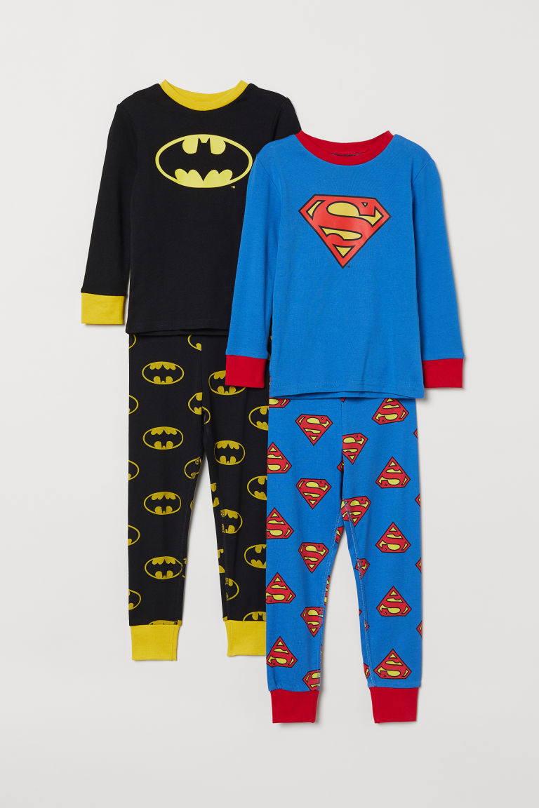 2-pack pyjamas - Black Batman/Blue Superman - Kids | H&M CN