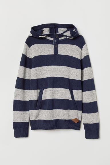 Knitted hooded jumper - Grey marl/Blue striped - Kids | H&M CN