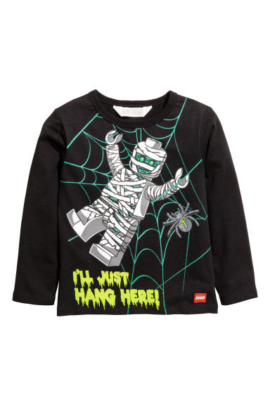 Printed jersey top - Black/Lego - Kids | H&M