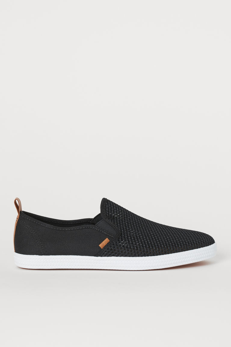 Slip-on trainers - Black/Mesh - Men | H&M