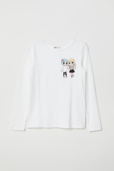 Printed jersey top - White/Manga - Kids | H&M CN