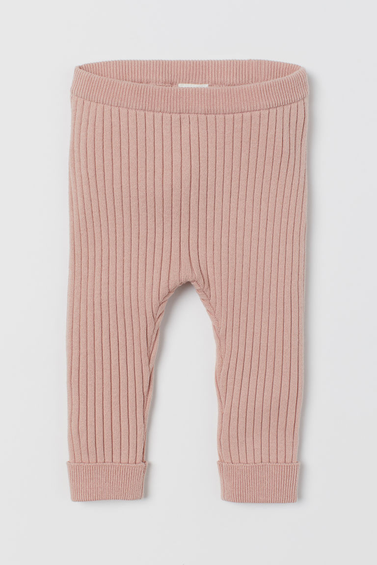 Ribbed leggings - Powder pink - Kids | H&M
