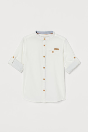 Band-collar Shirt