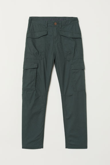 Jersey-lined cargo trousers - Dark green - Kids | H&M