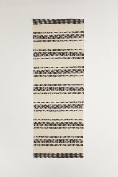 Patterned cotton rug - Anthracite grey/Natural white - Home All | H&M CN