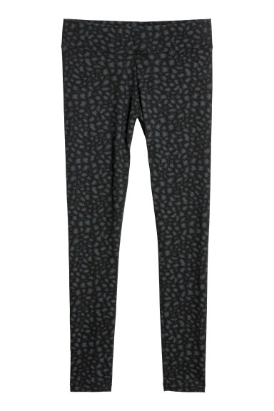 Jersey leggings - Black/Leopard print - Ladies | H&M