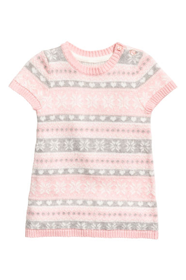 Jacquard-knit dress - Light pink - Kids | H&M GB