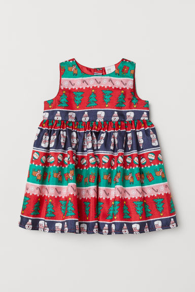 Patterned dress - Red/Christmas trees - Kids | H&M CN
