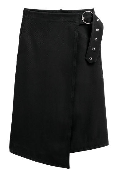 Wrapover twill skirt - Black -  | H&M CN